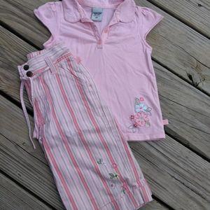 Oshkosh Dainty peach outfit.  Size 4T
